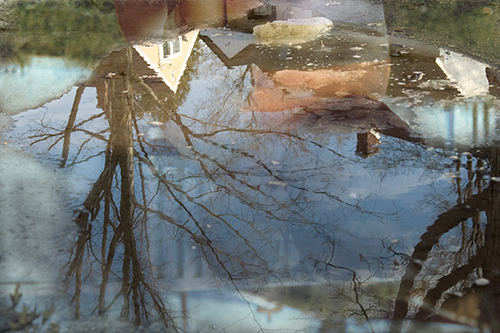 Reflection 1, Ink Jet print on semi-matt photographic paper, 43.4 x 65 cm, 2006, and also printed as a LightJet duratrans transparency in a silver light box, 66.6 x 97.1 x 14 cm, 2008.