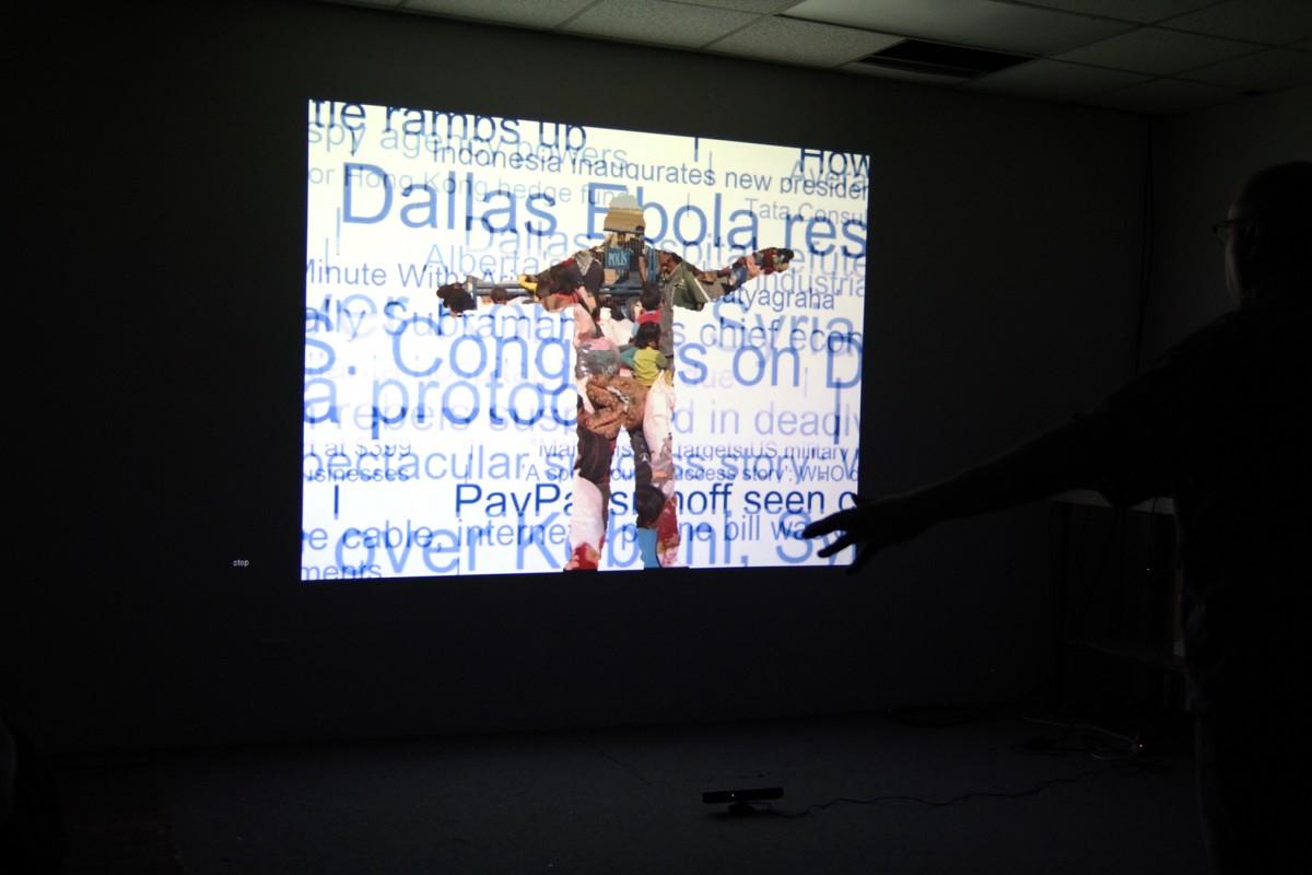 Interactive installation, 2015 (News headlines and Syria news video)